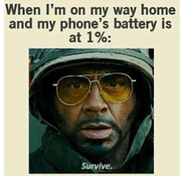 phone battery one percent