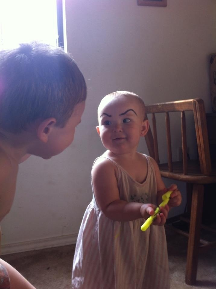 evil baby eyebrows