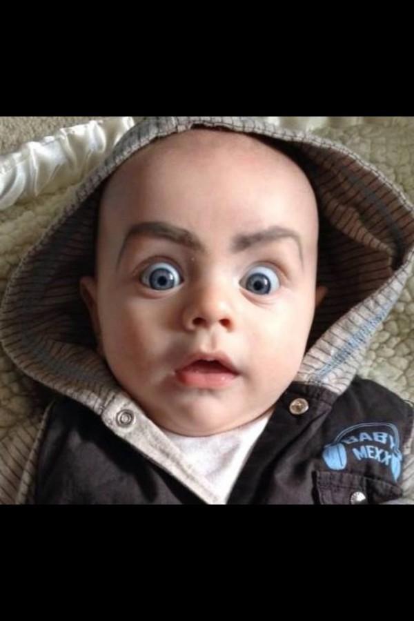 surprised baby eyebrows