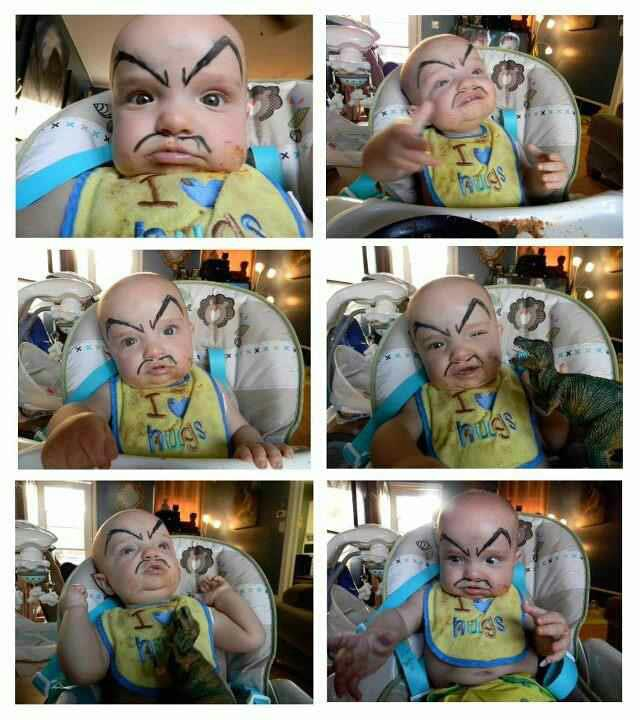drawing eyebrows on baby