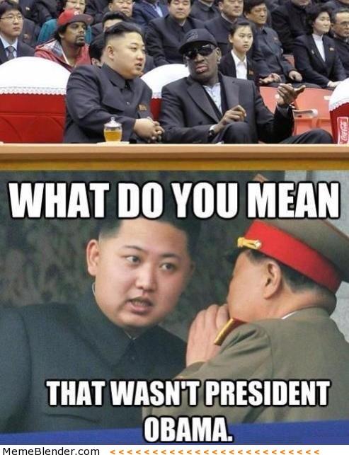 Kim Jong Un mixes up Dennis Rodman for President Obama.
