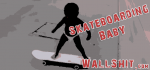 baby in diaper skateboarding
